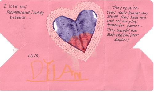 Dylan's Valentine's Card - Inside