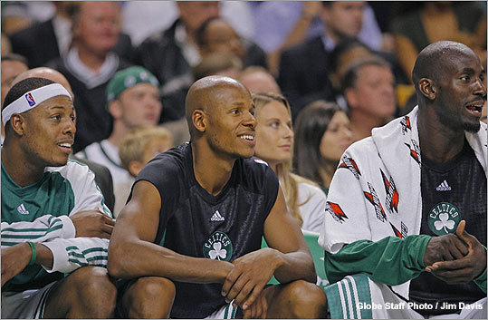 From left, Paul Pierce, Ray Allen, and Kevin Garnett enjoyed the final minutes of the Celtics\' romp over the Nets Wednesday.