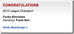 Congratulations 2012 League Champion! Funky Kimchees